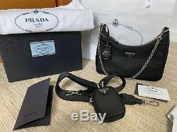Complet Véritable Bnwt Prada 2005 Réédition Sac Besace En Nylon Noir