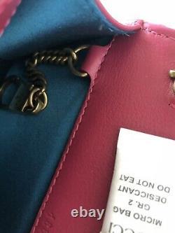 Gucci Marmont Amour Édition Limitée Velours Rose Sac Perlé Sur Bnwt De La Chaîne