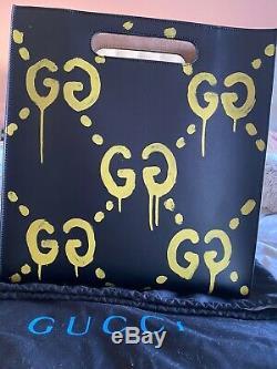 Gucci Noir Vrai Fantôme Graffiti Grande Bandoulière En Cuir De Sac Fourre-tout Limited Edition