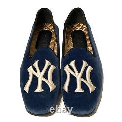 Gucci X Ny Yankees Mens Limited Edition Velvet Logo Slip On Loafers 6 Pdsf 890 $