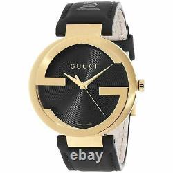 Gucci Ya133208 Interlocking-g Grammy Special Edition Montre En Cuir Noir Homme
