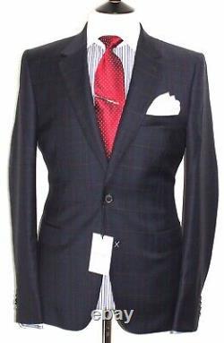 Hommes Bnwt Paul Smith La Ligne Principale Nouvelle Édition Slim Fit Navy Tartan Suit42r W36