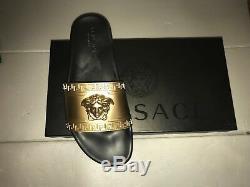 LD Édition Versace Véritable Mens Black Pool & Gold Slides Chaussons Royaume-uni Taille 11