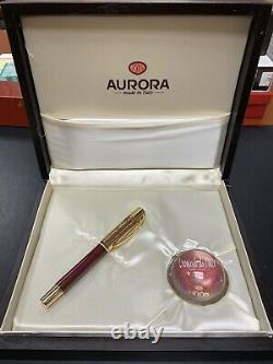 Leonardo Da Vinci Aurora Limited Edition Fountain Pen 18k Gold M Nib New #0863