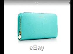 Limited Edition Tiffany's Wave Étang Portefeuille Continental En Cuir Bleu De Tiffany