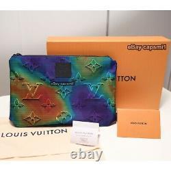 Louis Vuitton Réversible Pouch LV 2054 Édition Limitée 3d Rare Mens Maroquinerie