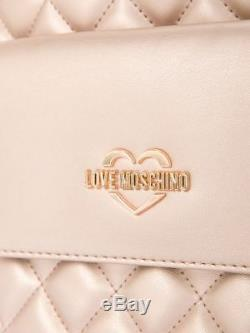 Love Moschino Sac À Dos Grande Taille Matelassée Perle Rose Or Rose Édition Limitée