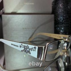 Lunettes Bvlgari Ivoire Blanc Swarovski Crystal Limited Edition 2078 Très Rare