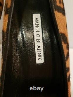 Manolo Blahnik 39 Us 9 Leopard Animal Print 105mm Pompes (tiger King Édition!)