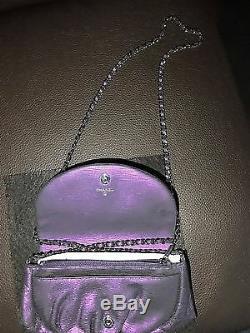 New Rare Chanel Limited Edition Violet Cuir Half Moon Portefeuille Sur La Chaîne Woc Sac