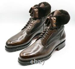 New Santoni Boots Fur Limited Edition Shoes Size Eu 42.5 Uk 8.5 Us 9.5 (led177)
