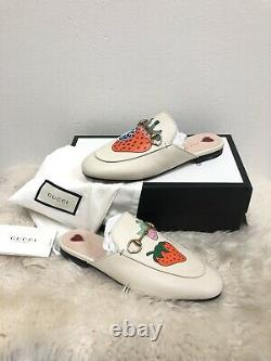 Nib Gucci Princetown Limited Edition Strawberry Brixton Mule Loafer Flat 39