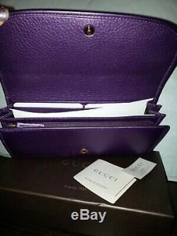 Nib Gucci Vintage Logo Métal Violet Aubergine Cuir Limited Edition Wallet Nouveau