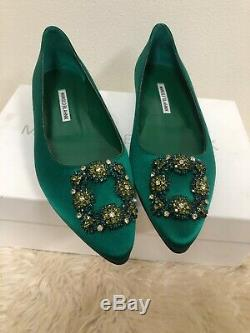 Nib Manolo Blahnik Hangisi Limited Edition Ballet Jewel Emerald Green Flats 39