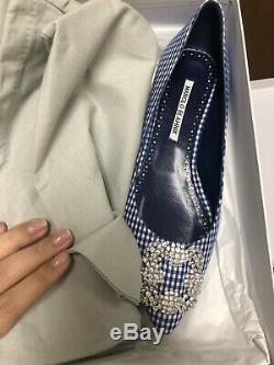 Nib Manolo Blahnik Hangisi Limited Edition Bleu Blanc Vichy Jeweled Appartements 40