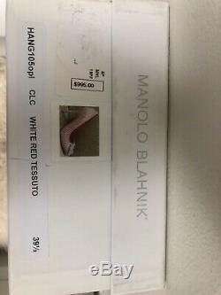 Nib Manolo Blahnik Hangisi Limited Edition Rouge Blanc Vichy Cristal Pompe 39,5