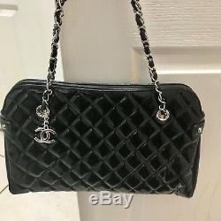 Nouveau Chanel Noire Matelassée Brevet Sac En Cuir Limited Edition 3834 $ Authentique