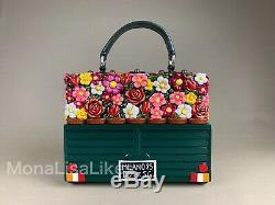 Nouveau Dolce Gabbana Limited Edition Florale De Voiture À La Main Boîte En Bois De Bourse De Sac
