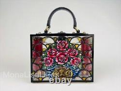 Nouveau Dolce & Gabbana Limited Edition Piste Stain Verre Floral Boîte De Bourse De Sac