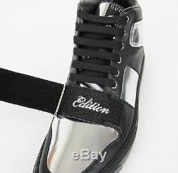 Nouveau Gucci Cuir Argent Hommes Haut-top Sneaker Limited Edition 376194 1064