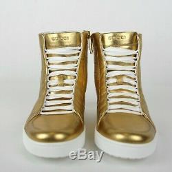 Nouveau Gucci Cuir Or Hommes Haut-top Sneaker Limited Edition 376193 8061