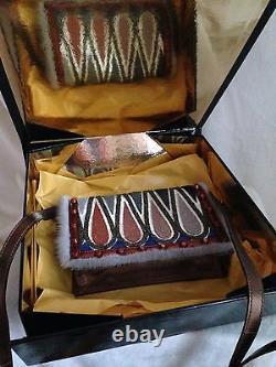 Nouveau Sac De Soirée Fendi Multicolor Mink Trim Handbag Clutch