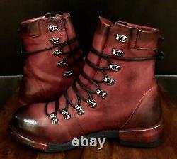 Nouvelle Édition Spéciale Rare Freebird (italie) Red Black Lace Up Ankle Boots Taille 8