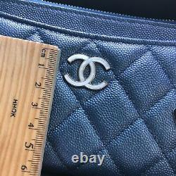 Nouvelle Pochette Auth Chanel Blue Caviar Wallet Wallet Clutch 2019 Limited Edition
