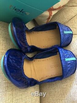 Nwb Tieks Limited Edition So Sexy! Saphir Bleu En Cuir Verni Chaussures Plates Sz 9