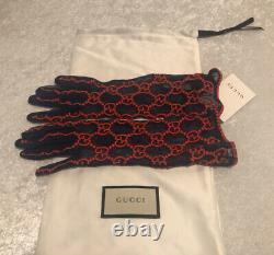 Nwt Gucci Gg Brodé Dentelle Tulle Blue/red Gloves Taille 7/s Édition Limitée