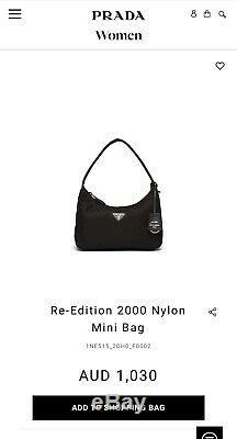 Prada Hobo Réédition 2000 Nylon Mini Sac Noir