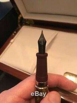 Rare Aurora Asie Verte Limited Edition Fountain Pen Nib 18k M Présentation Boîte