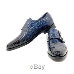 Santoni Limited Edition Bleu Crocodile Chaussures En Cuir Pour Hommes, Pdsf 5900 $