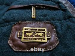 Stefano Ricci Limited Edition Blue Hunting Vest Avec Garniture En Cuir Brun Taille 2xl