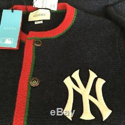 Tn-o Auth. Gucci Ny Yankees Édition Cardigan Navy Mens Taille L