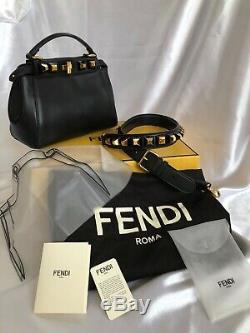 Tn-o Mini Fendi Peekaboo Gold Edition Noir Sac À Main Goujons 100% Authentique