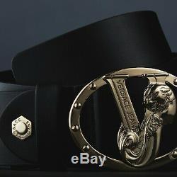 Versace Jeans Ceinture En Cuir Noir Pour Hommes Avec Signature Boucle Limited Edition