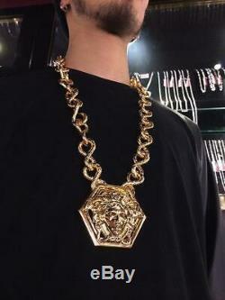 Versace Limited Edition D'or Énorme Chaîne Medusa Collier Plaqué Boîte Cadeau Parfait